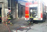 مهار حریق گسترده انبار لوازم خانگی توسط آتش نشانان کاشانی
