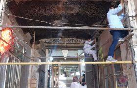 مرمت تزئینات نقاشی کاروانسرای گمرک بازار کاشان
